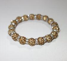 A426 - Shamballa Armband - NEU - Beige Strass Steine Perlen Glitzer Mädchen Girl