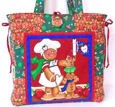 CHRISTMAS GINGERBREAD MAN ~ Handmade Tote bag ~ 100% Cotton Prewashed Fabric #D