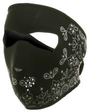 Biker Mask Black Paisley Neoprene