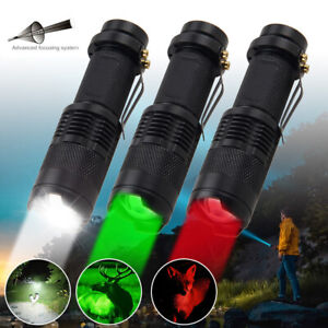 Green/Red Light LED Flashlight Zoom Tactical Torch Clip Adjustable Focus Hunting