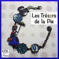 Bracelet LOL BIJOUX - MARY POPPINS, fleurs, papillon & lune - Bleu - LOLILOTA
