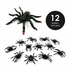 12 Plastic Toy Gift Favours Spider Figures Party Bags Halloween Decorations