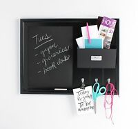Dagny Wood Chalkboard with Mail Pocket and Key Hooks by DesignOvation