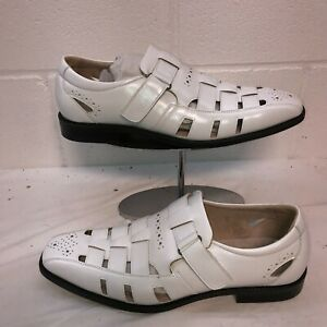 Stacy Adams Mens Calax WHITE Fisherman Sandals Size 10 M NEW IN BOX