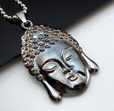 Free HOT Bead chain Black Titanium Steel Sakyamuni Buddha Pendant Necklace Gift