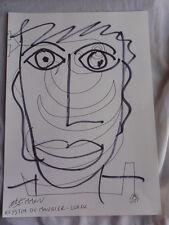 Royston Du Maurier-Dibujo Original LEBEK firmado Fieltro Punta Pluma de la cara en papel (Z)