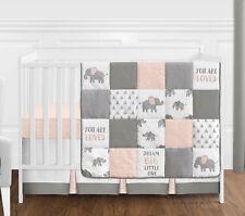 4p Blush Pink Grey White Watercolor Elephant Safari Baby Girl Crib Bedding Set