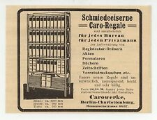 BERLIN, Werbung 1911, Caro-Werke Schmiede-Eiserne Caro-Regale Büro-Möbel