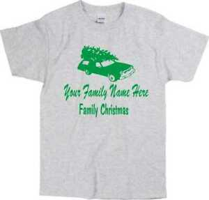 "Custom Christmas Vacation Car & Tree T-Shirt - ""Add Your Family Name"" S-XXL"
