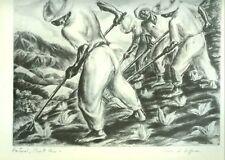 IRWIN D HOFFMAN WPA 1930's ANTIQUE ART PRINT PASTORAL, PUERTO RICO FARMING SCENE