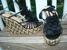 colin stuart BLACK RUFFLE ACCENT TIE UP WEDGE ACCENT HEELS SIZE 11 B