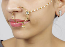 KN-06 INDIAN DIAMANTE NATH NOSE RING NOSE CHAIN BRIDAL PARTY HOOP JEWELLERY
