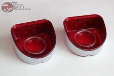 1968 Chevy Fullsize Passenger Car Rear Tail Lamp Light Lenses Stainless Trim