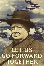 vintage print poster Winston Churchill go forward together