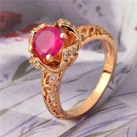 Perfect 18K Yellow Gold Plated Red Corundum & CZ Womens Ring,Size 7,8,9