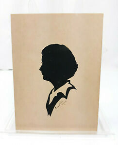 1943 Signed Carew Rice Hand Cut Silhouette Profile of a Young Lady