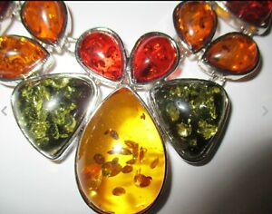 Art Deco Vintage style chunky Natural amber stament necklace