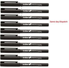 10 X Artline Fine Tip Black Permanent Marker Pen Bullet Tip Nib Water Resistant