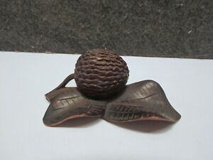 VINTAGE BLACK FOREST HAND CARVED WOOD INKWELL WITH PEN REST