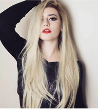 Realistic Brown Roots Ombre Blonde Synthetic Wigs Long Straight Lace Front Wigs