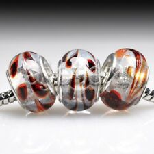 5pcs Murano Glass European Spacer Beads Lampwork Fit Bracelet Chain LB0088 FB