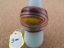 Glass Ring. Uk-P. Us 7.5 (3) A Silver,Red With Yellow Centre Murano Style