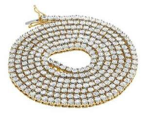 Real Yellow Gold Finish 1 Row Diamond Chain Necklace 3.5MM 24 ins 1.75 Ct