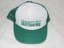 TRANSWORLD SKATEBOARDING GREEN WHITE TRUCKER MESH ADJUSTABLE VINTAGE HAT CAP