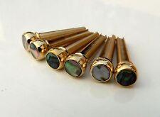 Brass & abalone premium pont pin set pour guitares acoustiques string chevilles pins