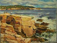 MAINE COAST SEASCAPE OCEAN BEACH ABSTRACT IMPRESSIONISM OIL PAINTING E. JORDAN
