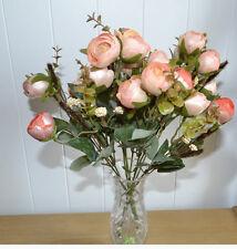 6 x Bouquet artificiel fleurs plastique déco roses