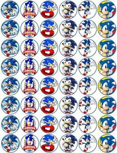 48 x 3cm Sonic The Hedgehog Edible Wafer Paper Cupcake/Fairy Cake Toppers
