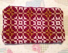 Ladies Vintage Make Up Bag/Purse/Knitted/1950's/60's/Pink Cream Geometric Print
