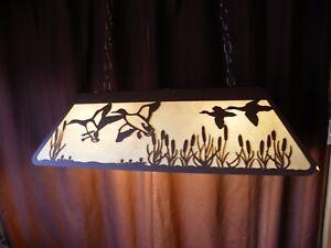 Laser cut Steel Mallard Duck Pool Table Light Lamp hunt cabin BLACK