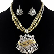 Cowgirl Vintage Western Gold & Silver Winged Heart Rhinestone Necklace Earring