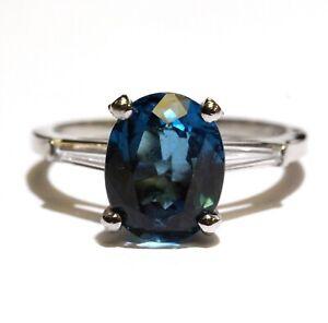 Platinum .20ct VS1 G diamond oval blue topaz gemstone ring 4.2g 6