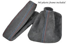 MID GREY SUEDE M STITCH MANUAL GAITER SET FITS BMW 5 SERIES E39 1996-2004