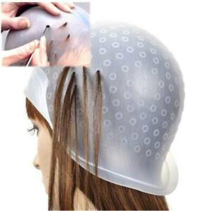 Cuffia capelli per meches silicone colorazione punte forata con uncinetto colore