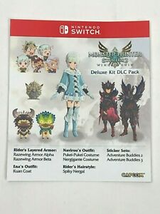 Unused Deluxe DLC Pack Insert from Monster Hunter Stories 2 Collector's Edition