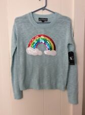 "Almost Famous Mist Green Womens Size S Nwt ""Whimsy Sweaters� Sequined Rainbow"