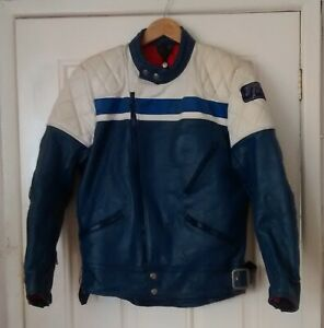 TT  LEATHERS   blue/white   Motorcycle Jacket  40 inch  chest