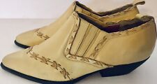 Sabree Vntg Women's Ankle Boots Joan 2055   Yellow Cross Stitched Leather Sz 9M