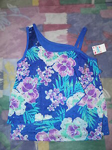 JUSTICE Sequin One-Shoulder Tropical Flower Crop Tank Size 10~ NEW!