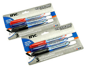 2 PACKS 6 INC® ULTRA FINE POINT DRY ERASE MARKERS MULTI COLORED BLUE RED BLACK