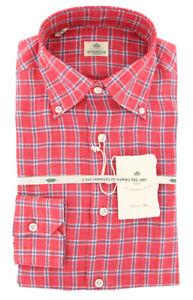 New $450 Luigi Borrelli Red Check Shirt - Extra Slim - (40LB1705)
