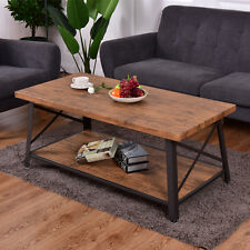 Wood Coffee Table Cocktail Sofa Side Table Rectangle Metal Frame w/Storage Shelf