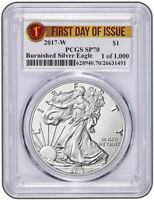 2017 W Burnished Silver Eagle PCGS SP70 - First Day Issue Label 1-1000