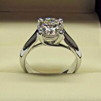1.50 Ct White Moissanite Solitaire Engagement Ring Sterling Silver Round Shape