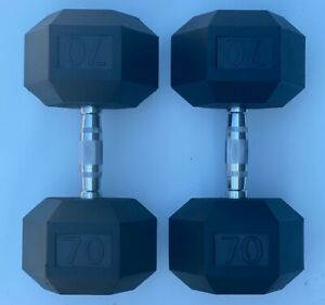 BRAND NEW 70LB PAIR OF RUBBER COATED HEX DUMBBELLS WEIGHTS FOR COMMERCIAL GYM