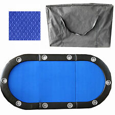 """84"""" 10 Player Tri-Fold Folding Poker Table Top Speed Cloth & Carrying Case Blue"""